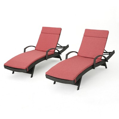 Salem Gray 2pk Wicker Adjustable Chaise Lounge with Arms - Red - Christopher Knight Home