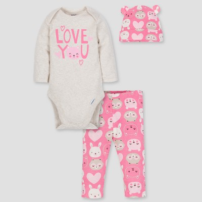 Gerber Baby Girls' 3pc Long Sleeve Bodysuit Cap and Pants Set - Tan/Pink 0-3M