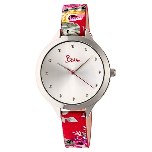 Women's Boum Bijou Watch with Floral Patterned Genuine Leather Strap - Red - image 1 of 3