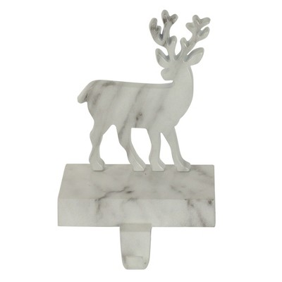 """Northlight 7.5"""" White and Black Marbled Standing Deer Christmas Stocking Holder"""