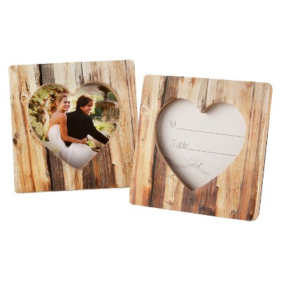 """12ct """"Rustic Romance"""" Faux-Wood Heart Place Card Holder/Photo Frame"""