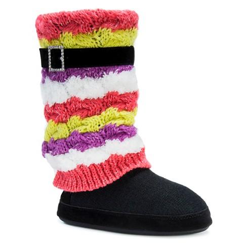 Womens Muk Luks Fiona Striped Sweater Knit Slipper Boots Target
