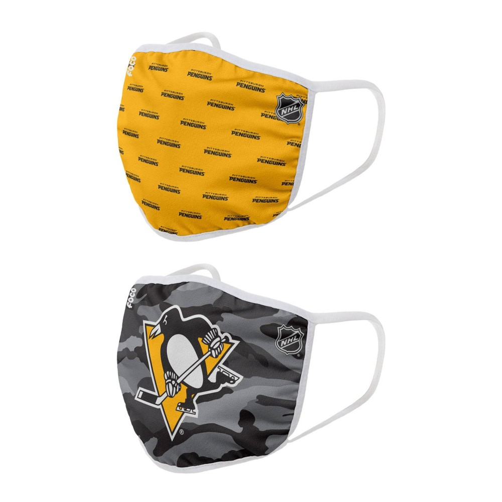 Nhl Pittsburgh Penguins Adult Face Covering 2pk