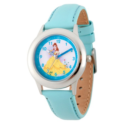 Girls' Disney Princess Belle Stainless Steel Time Teacher Watch - Blue - image 1 of 1