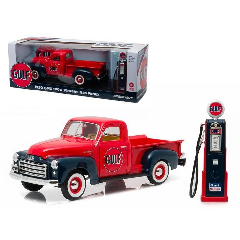 1950 GMC 150 Pickup Truck Gulf Oil with Vintage Gas Pump 1/18 Diecast Model Car  by Greenlight - image 1 of 1