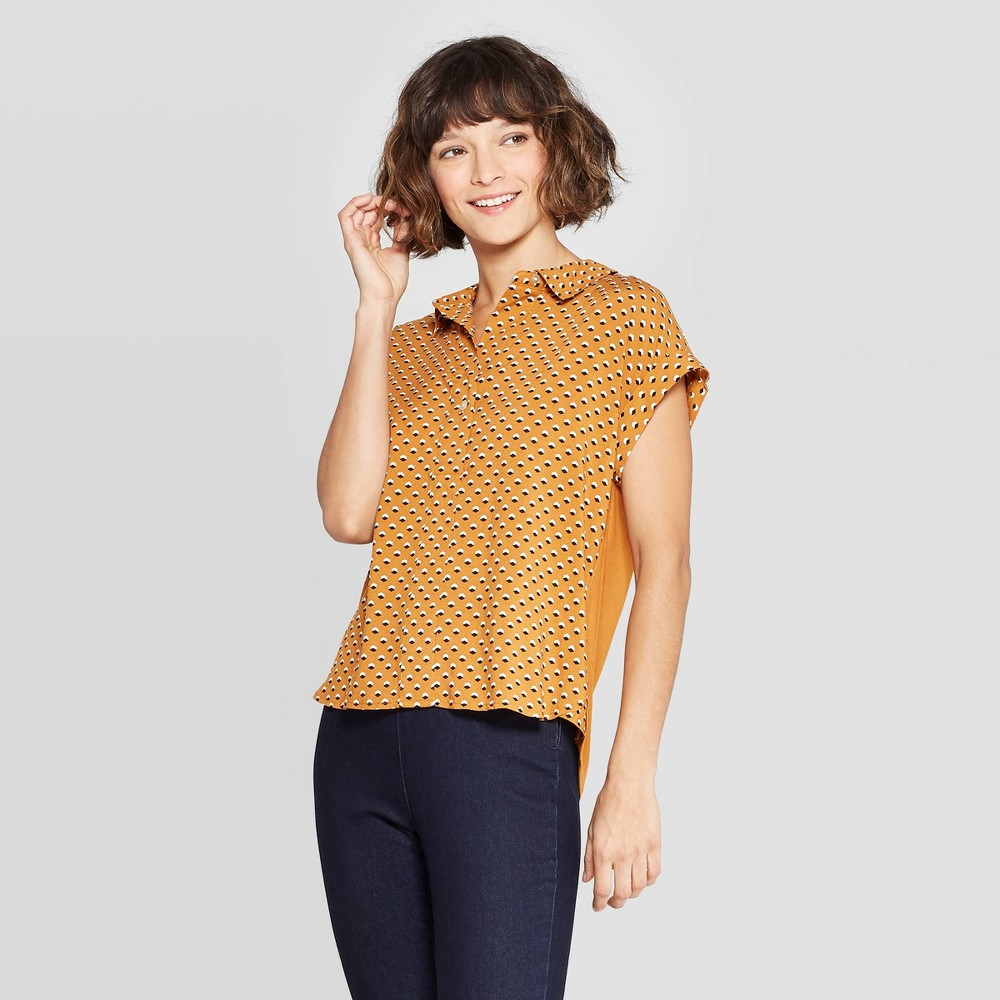 Women's Geo Print Short Sleeve Popover Shirt - A New Day Rust XL, Red
