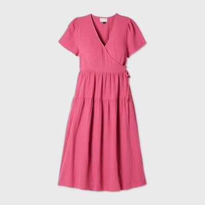 Women's Short Sleeve Wrap Dress - Universal Thread™ Rose L