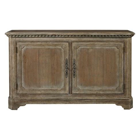 Hand Painted Traditional Distressed Two Door Accent Storage Console with Brass Hardware - Brown - Pulaski - image 1 of 6