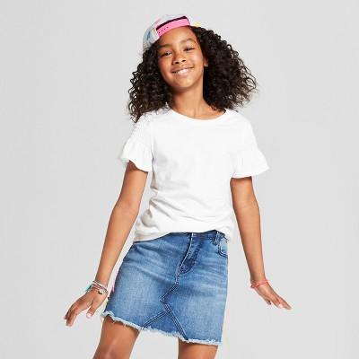 Girls' Smocked Short Sleeve Top - Cat & Jack™ White L