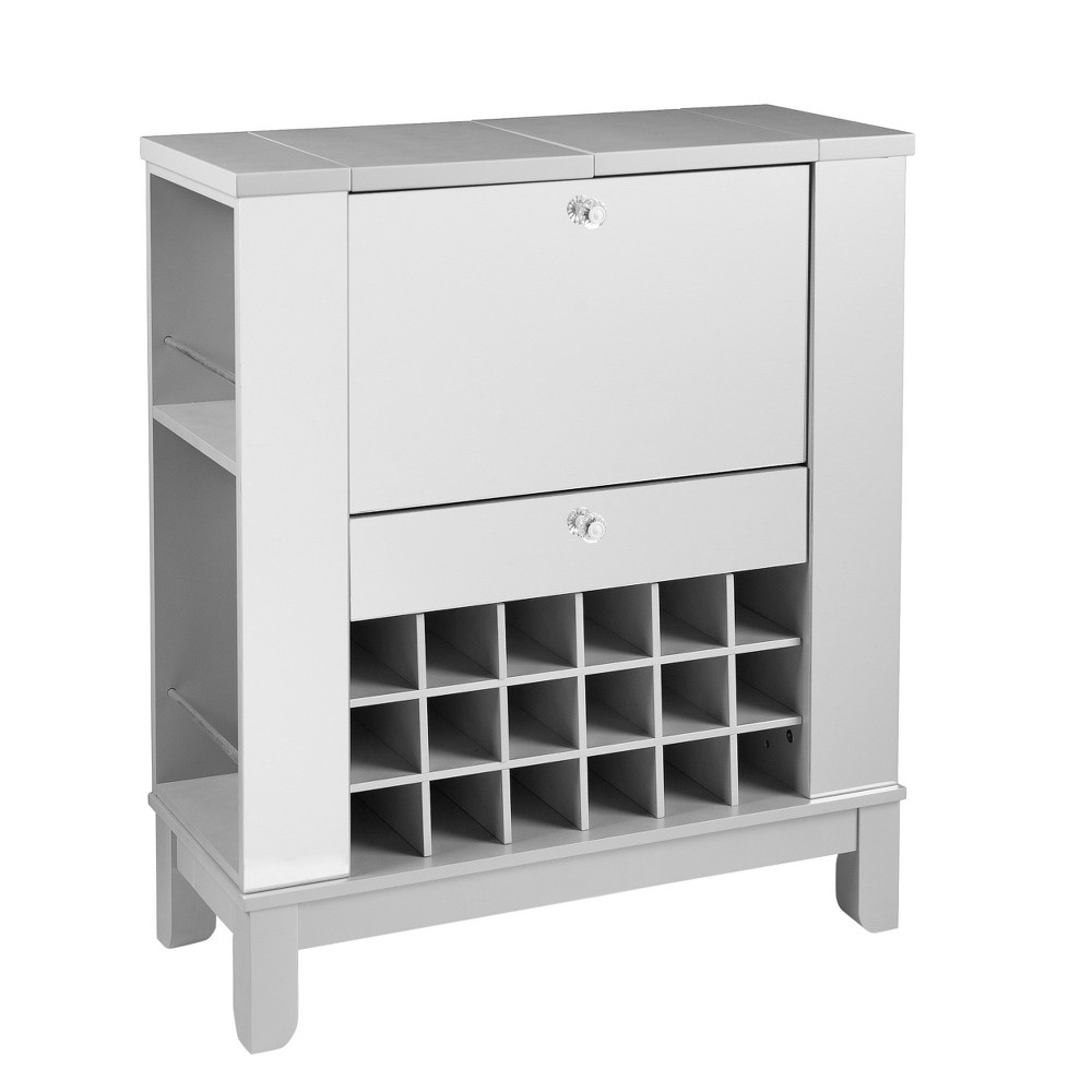 Monroe Mirrored Fold - Out Wine/Bar Cabinet - Aiden Lane, Shiney Silver