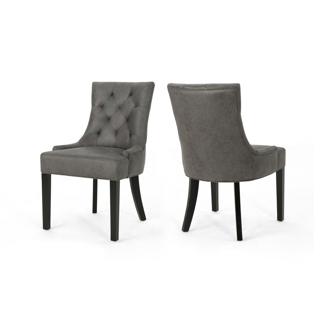 Hayden Set of 2 Traditional Dining Chair Slate (Grey) - Christopher Knight Home