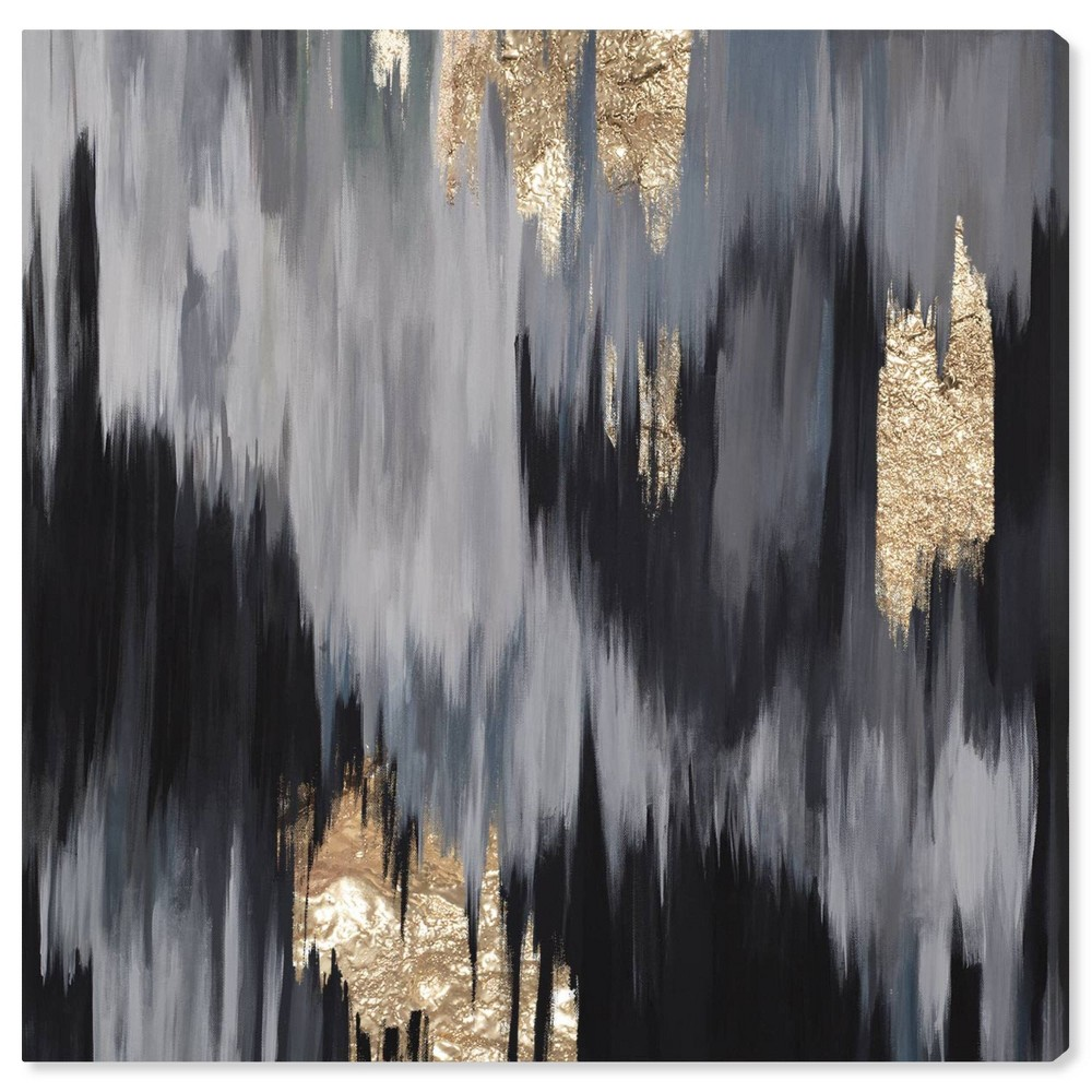 12 34 X 12 34 Gold Fall Abstract Unframed Canvas Wall Art In Black Oliver Gal
