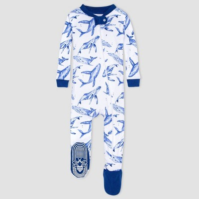 Burt's Bees Baby® Baby Boys' One Piece Whales Footed Pajamas - Blue