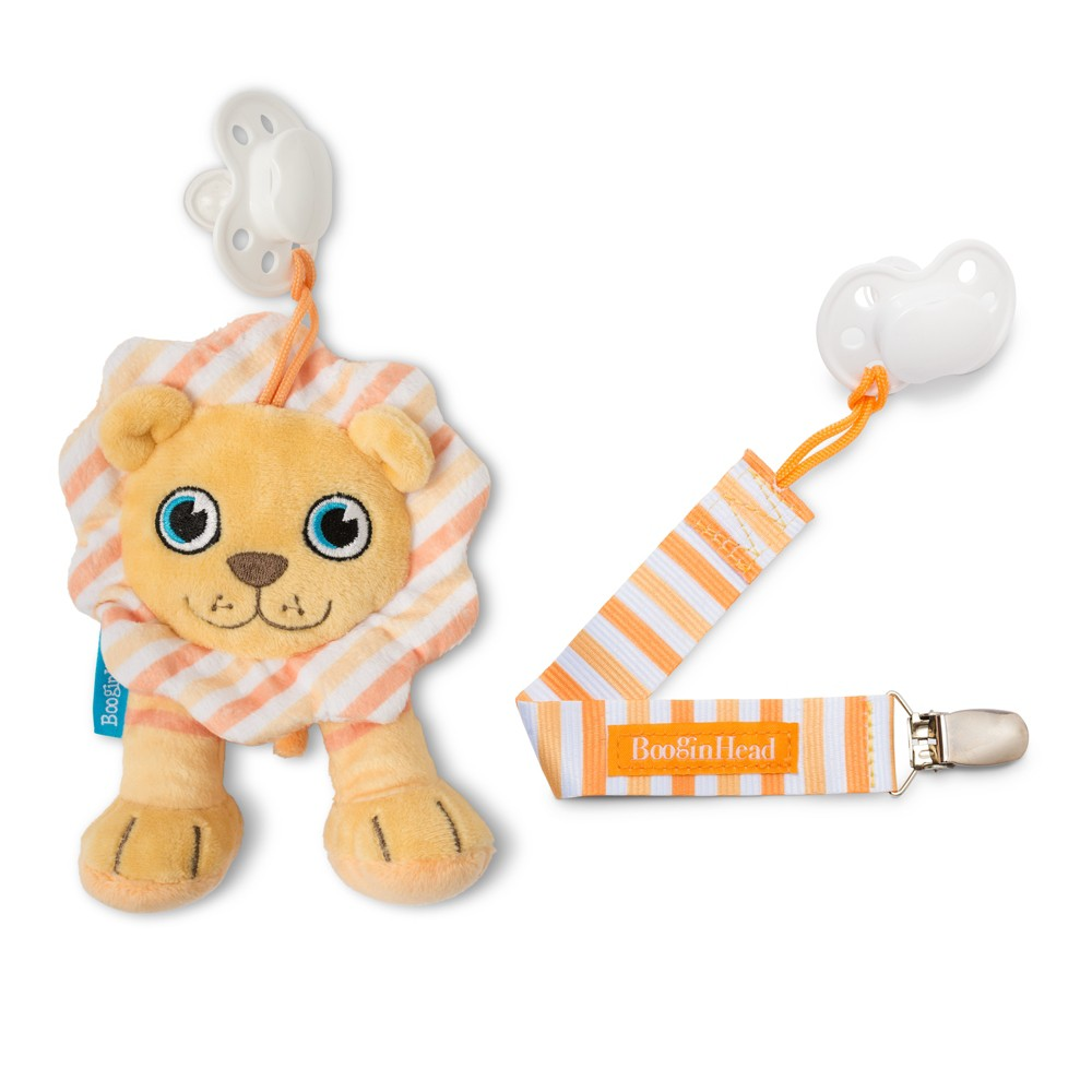 Image of BooginHead Plush PaciPal / PaciGrip Pacifier Clip Pacifier Holder Set - 2pc Lion, Orange