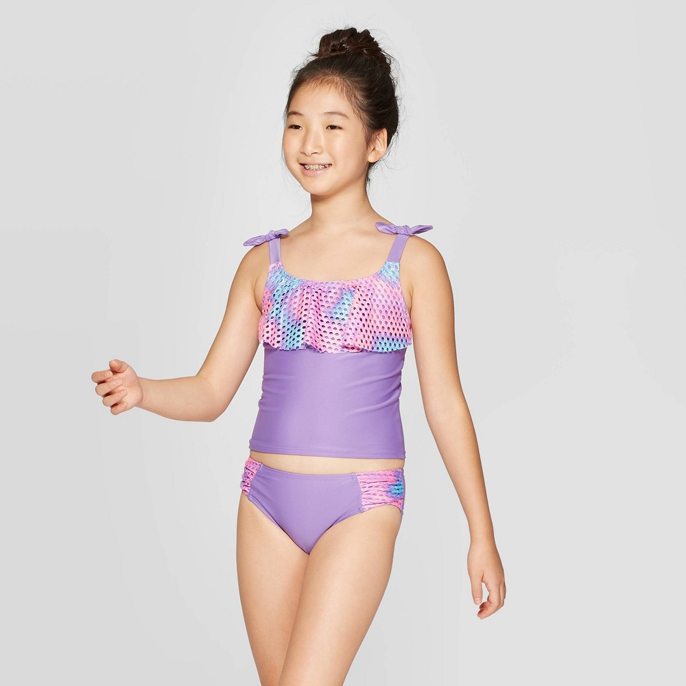 Image of Girls' Mermaid Vibes Tankini Set - Cat & Jack Purple S, Girl's, Size: Small
