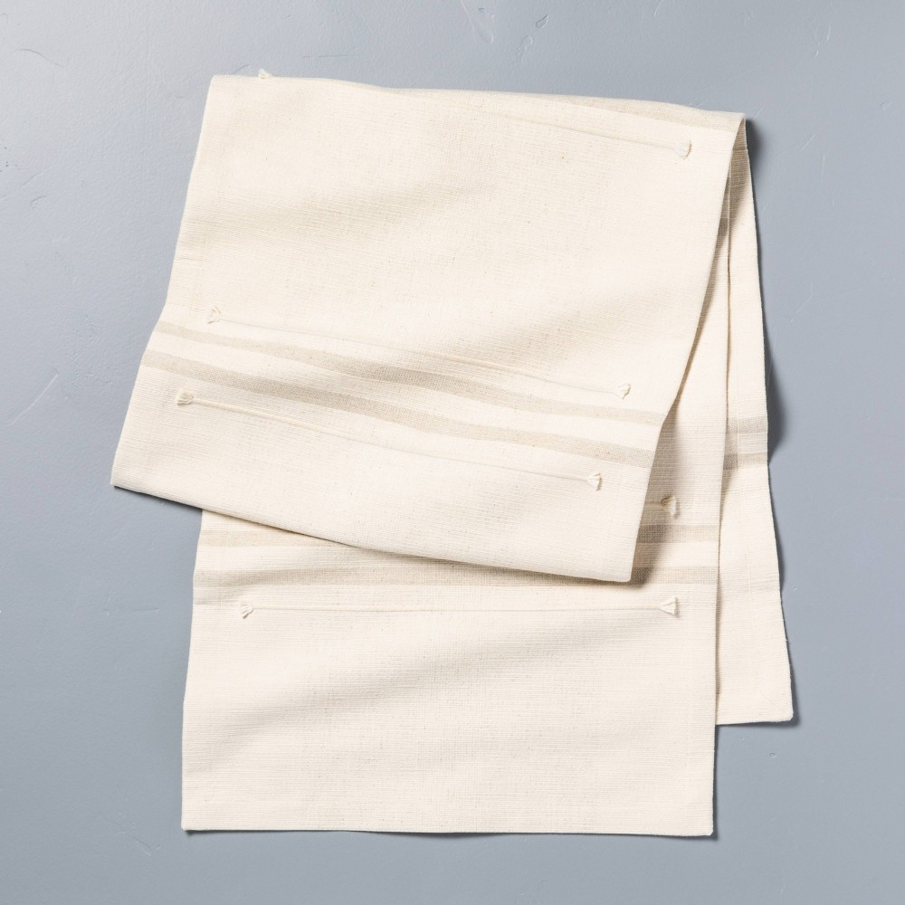 Oversized Stripe Table Runner Sour Cream Taupe Hearth 38 Hand