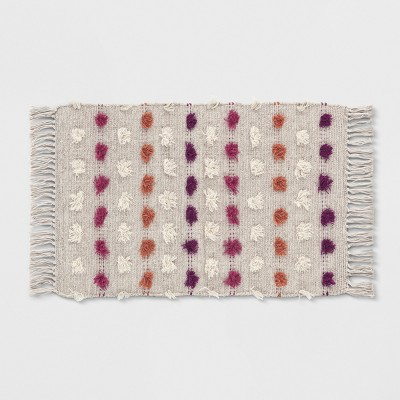 Tan Striped With Poms Woven Fringed Accent Rug 2'X3' - Opalhouse™