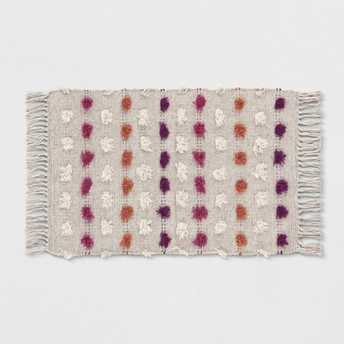 Tan Striped With Poms Woven Fringed Rug - Opalhouse™ - image 1 of 5