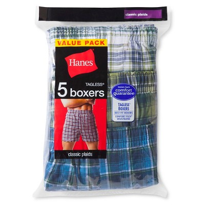 Hanes Men's 5pk Red Label Boxer Shorts Tartan - Colors May Vary XXL