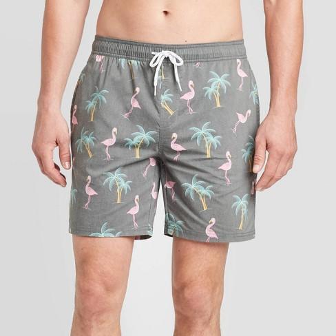 "Men's 7"" Flash Palms Swim Trunks - Goodfellow & Co™ Black Arrow  - image 1 of 3"