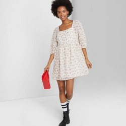Women's Floral Print 3/4 Sleeve Square Neck Chiffon Dress - Wild Fable™ (Regular & Plus)