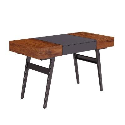 Expandable Modern Desk with Storage Mahogany - Techni Mobili