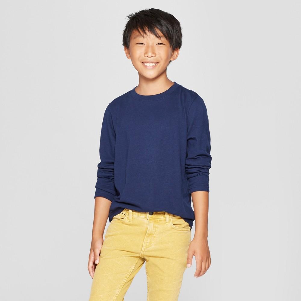 Boys' Long Sleeve T-Shirt - Cat & Jack Navy (Blue) S