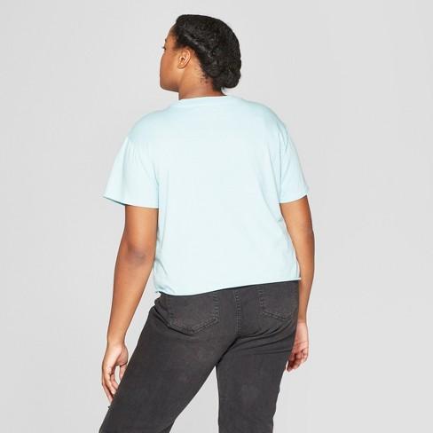 13ec4aac10e Women s Plus Size Short Sleeve Girls Can Cropped T-Shirt - Mighty Fine ( Juniors ) - Blue   Target