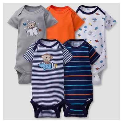 Baby Boys' 5pk Onesies® Bodysuits Monkeys - Gerber® - Navy 3-6M