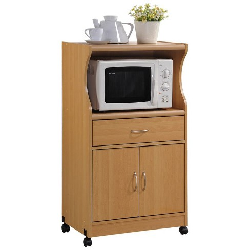 Microwave Kitchen Cart in Beech Brown - Hodedah