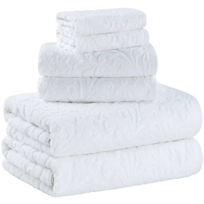 6pc Jacquard Bath Towel Set White - Alfred Sung Home