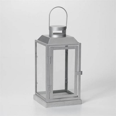 """11"""" Sadie Metal Outdoor Lantern with Cement Base Silver - Smart Living"""