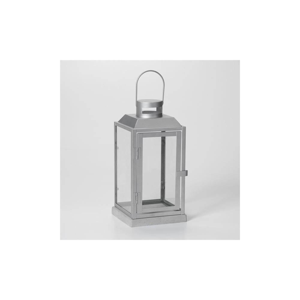"""Image of """"11"""""""" Sadie Metal Outdoor Lantern with Cement Base Silver - Smart Living"""""""