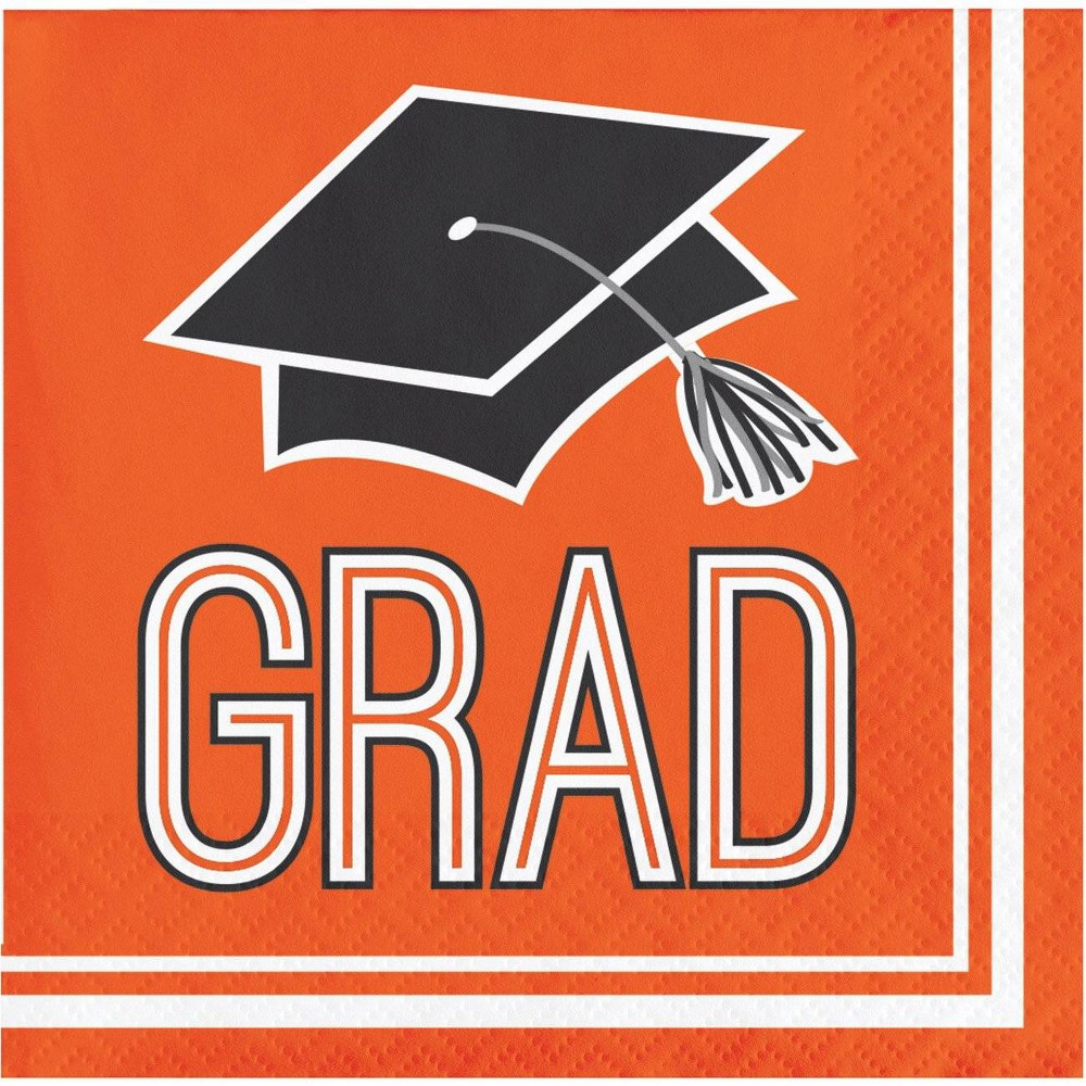 Image of 108ct Graduation School Spirit Beverage Napkins Orange
