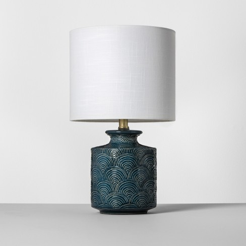 Ceramic Scallop Print Table Lamp Teal Opalhouse Target