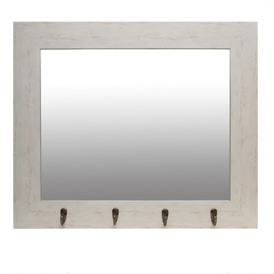 22 x26  White Washed Foyer with Hooks Decorative Wall Mirror Tan - Patton Wall Decor