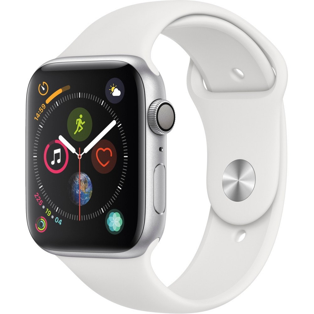 Apple Watch Series 4 GPS 44mm Silver Aluminum Case with Sport Band - White, White Sport Band