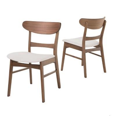 Idalia Dining Chair (Set of 2)- Light Beige/Walnut - Christopher Knight Home