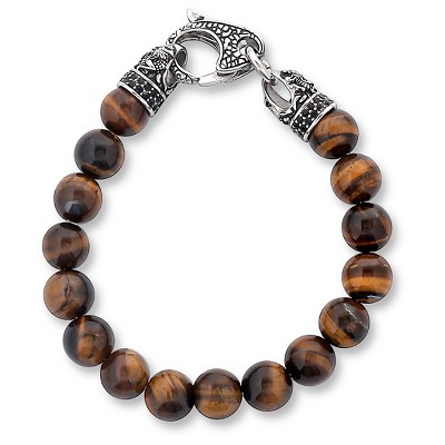 Men's Crucible Stainless Steel Dragon with Polished Tiger Eye's Beaded Bracelet