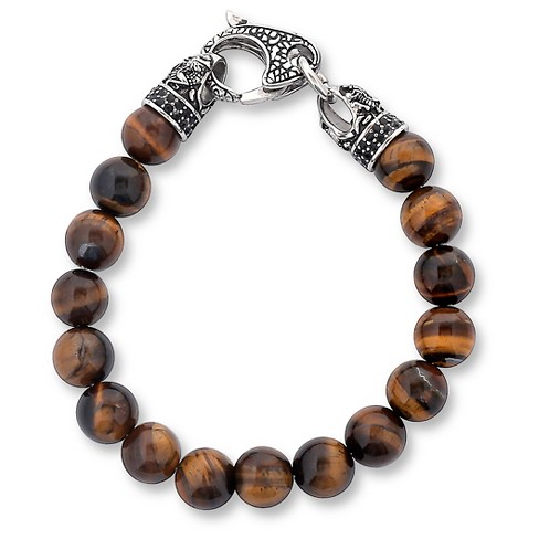 Men's Crucible Stainless Steel Dragon with Polished Tiger Eye's Beaded Bracelet - image 1 of 3
