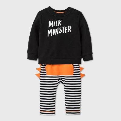Baby Boys' 'Milk Monster' Long Sleeve Top & Bottom Set - Cat & Jack™ Black Newborn