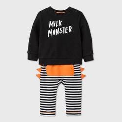 Baby Boys' 'Milk Monster' Long Sleeve Top & Bottom Set - Cat & Jack™ Black