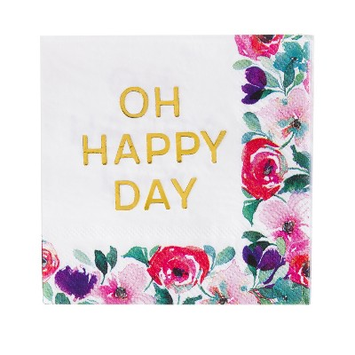 Evergreen Cypress Home Oh Happy Day Foil Paper Cocktail Napkins, 20 count
