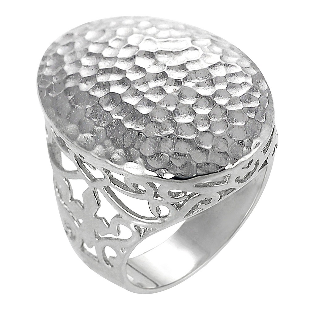 Women's Journee Collection Hammered Ring in Sterling Silver - Oval, 6