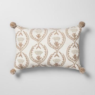 Beaded Floral Lumbar Throw Pillow Neutral - Opalhouse™