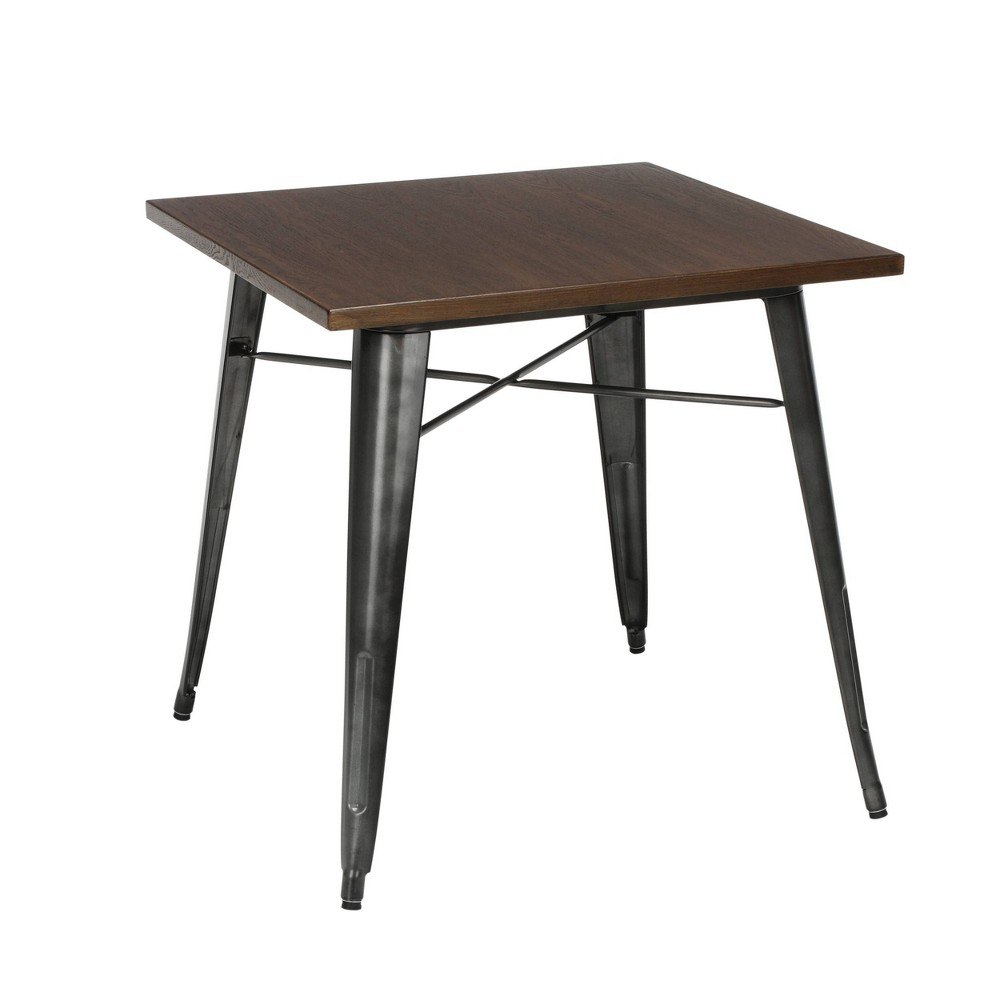 "Image of ""30"""" Modern Square Dining Table with Wooden Tabletop and Galvanized Steel Body Gunmetal/Walnut - OFM"""