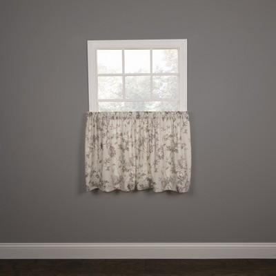 "Ellis Curtain Abigail Design Printed Room Darkening 2-Piece Window Rod Pocket Pair Set With 2 Tiers - 56x36"""