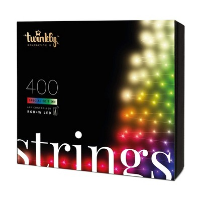 Twinkly TWS400SPP-GUS 400 LED RGB Multicolor & White 65.5 ft. Decorative String Lights, Bluetooth WiFi App Controlled Lights for Home and Bedroom