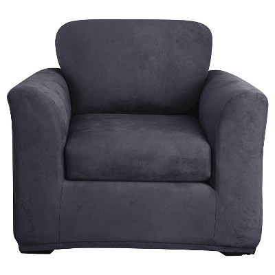 Stretch Suede 2 Piece Chair Slipcover Blue - Sure Fit