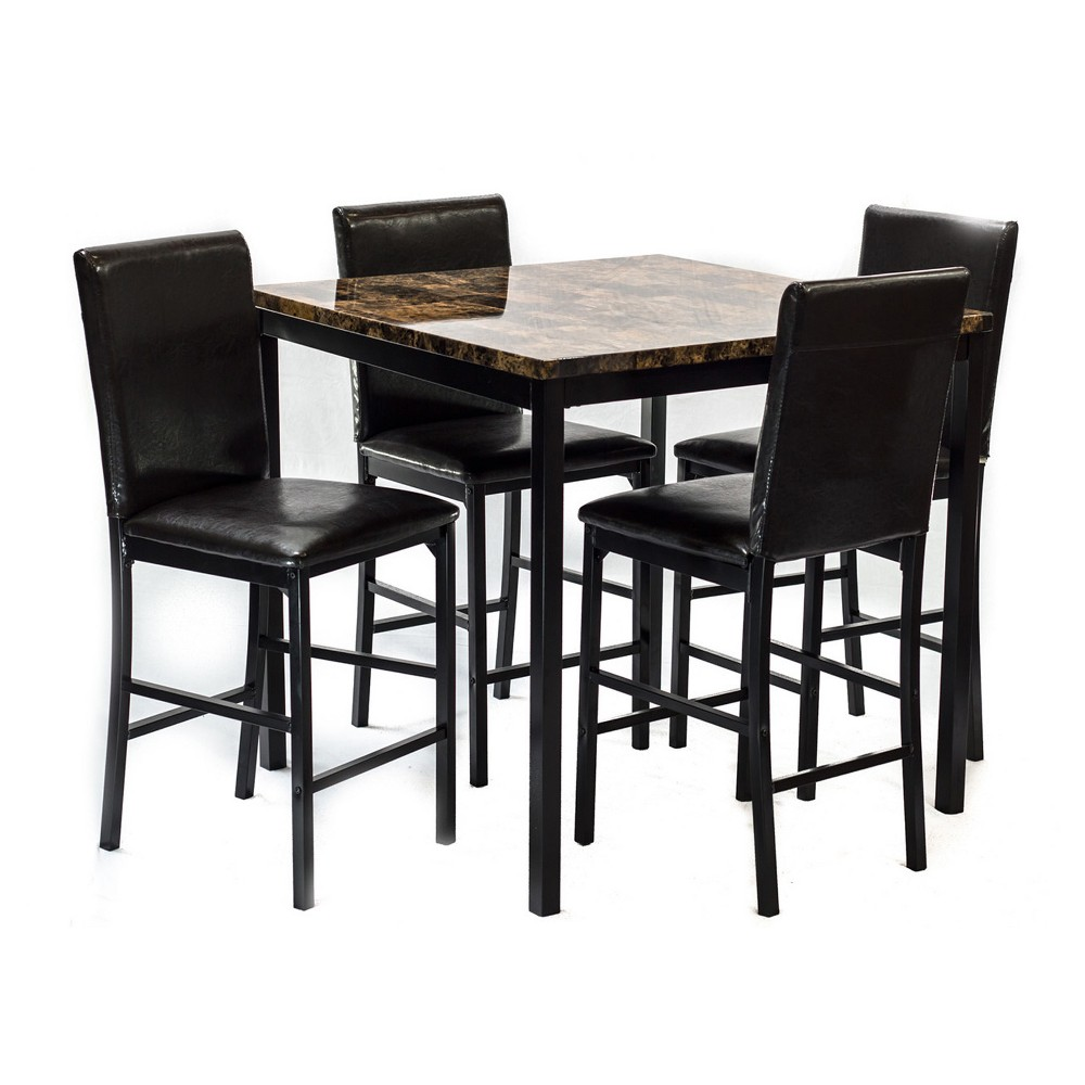 Harry 5pc Dining Set Dark Brown - Home Source Industries